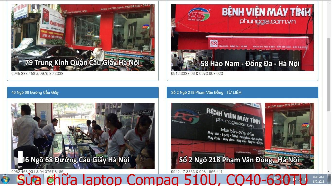 sửa chữa laptop Compaq 510U, CQ40-630TU, CQ43-205TU