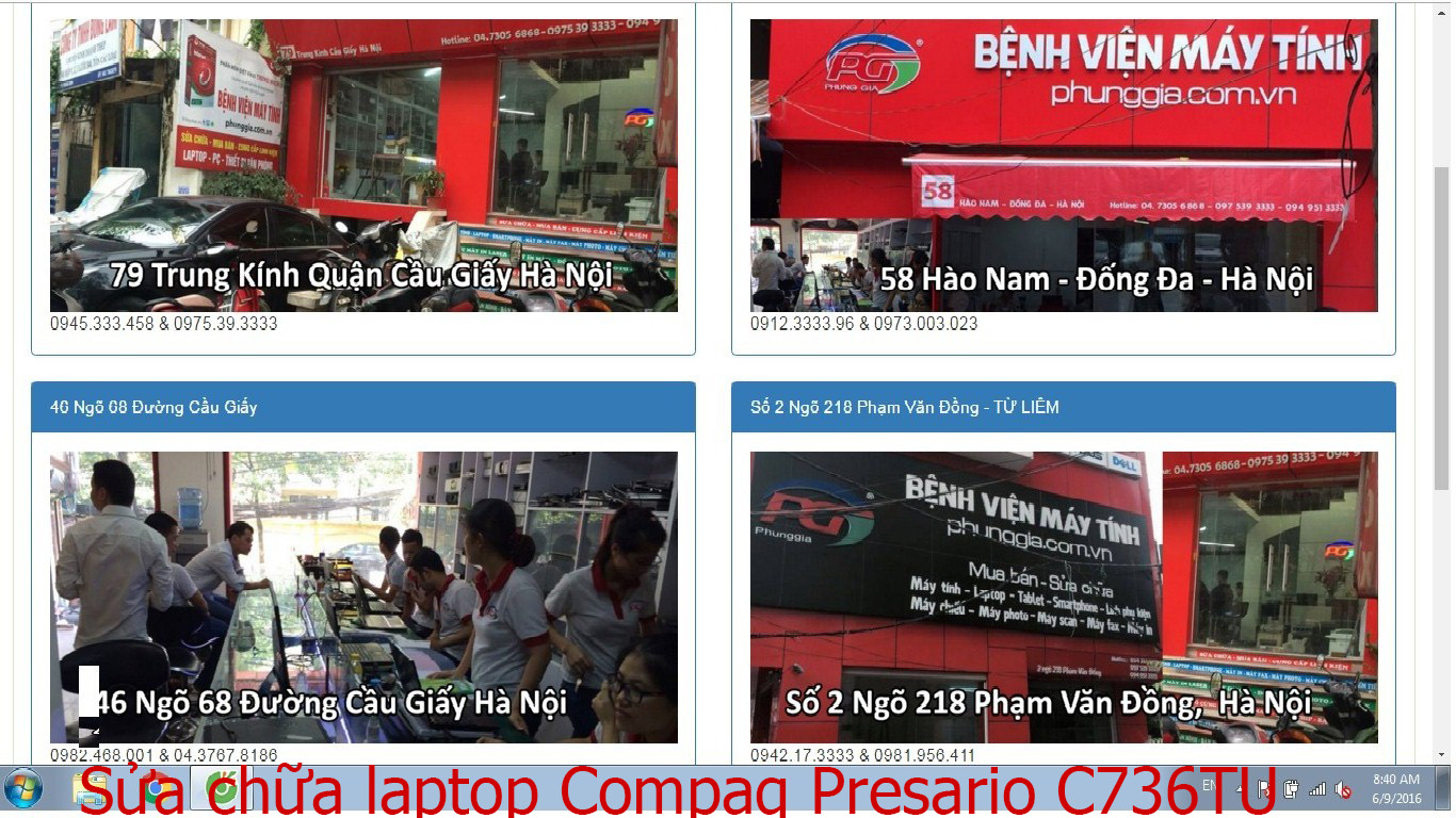 sửa chữa laptop Compaq Presario C736TU, CQ40-429TU, CQ42-224AX